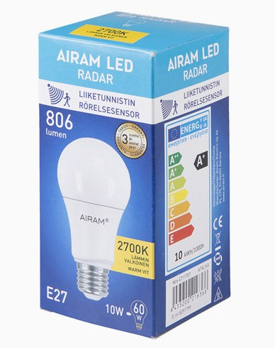 Airam RADAR LED lampa E27 10W840 (60W) Lysman
