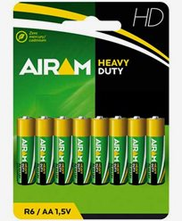 Airam Heavy Duty Plus R6 (AA) 1,5V batterier 8-pack