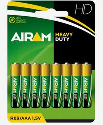 Airam Heavy Duty Plus R03 (AAA) batterier 8-pack