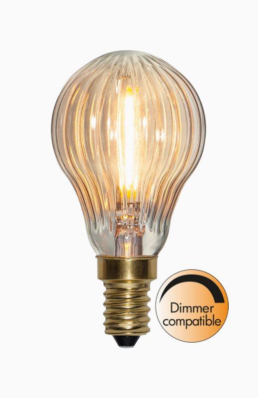 Star Trading LED lampa Soft Glow klot räfflad E14 0,8W 50lm