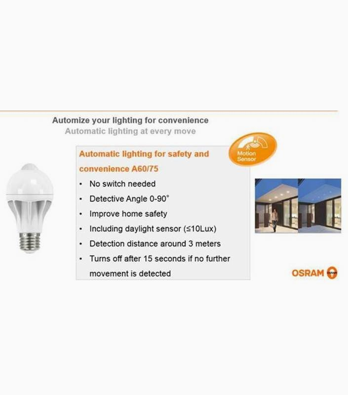 Osram LED lampa Normal CL A E27 Motion Sensor 9W (60W) Lysman